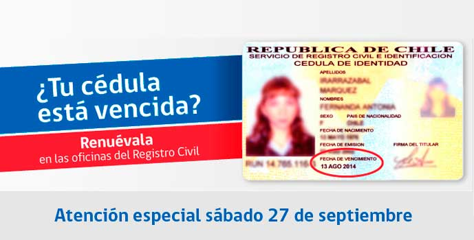 Registro Civil abrirá 5 oficinas este sábado para renovar cédulas de identidad vencidas