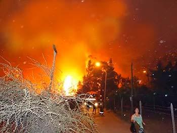 Se declara Alerta Roja para la comuna de Pichidegua por incendio forestal