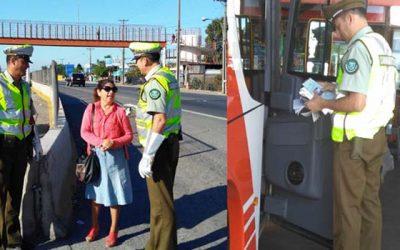 Carabineros fiscaliza buses interprovinciales y recomienda el uso de pasarelas