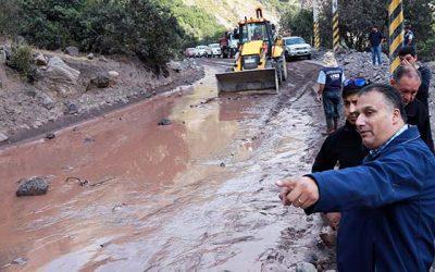 Se reinician labores de despeje en la ruta a las Termas del Flaco