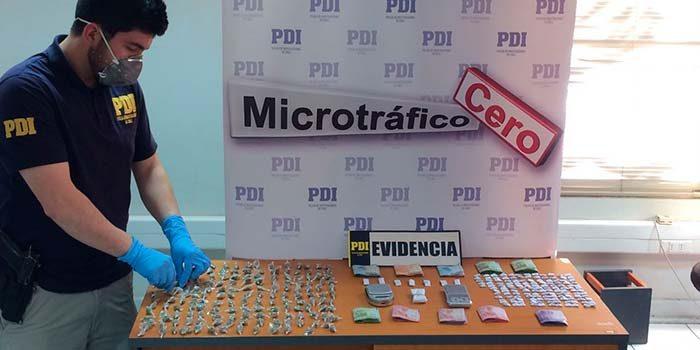 PDI incauta más de 310 dosis de drogas en San Fernando
