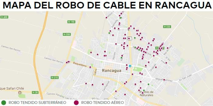 Robo de cables se cuadruplica en la Región de OHiggins durante 2017