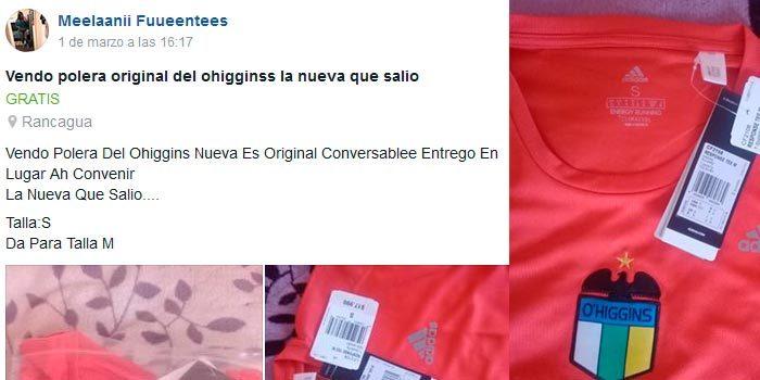 Mujer vede camisetas originales del Club OHiggins por Facebook