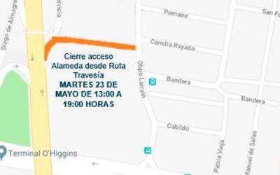 Desvío de tránsito en acceso Alameda de Rancagua desde ruta Travesía este miércoles