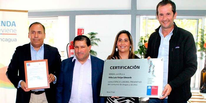 Senda Nancagua certifica a Viña Luis Felipe Edwards en prevención de drogas y alcohol