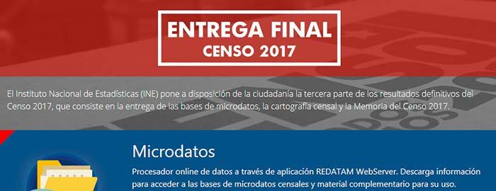INE pone a disposición la base de microdatos del Censo 2017