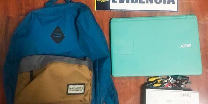 PDI recupera notebook y especies sustraídas desde el interior de un automóvil