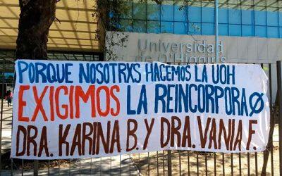 Estudiantes de la Escuela de Salud se toman el frontis de la Universidad de OHiggins por desvinculación de académicas