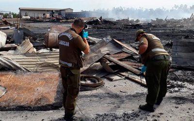 Labocar investiga violento incendio en la comuna de Olivar