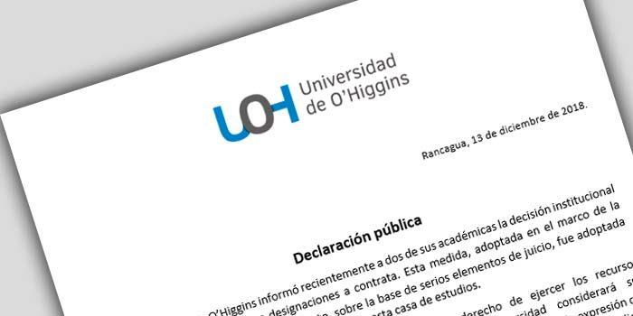 UOH se refiere a la no renovación de contrato de dos de sus académicas