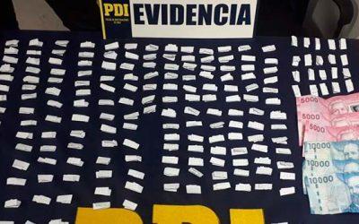 PDI incauta 221 envoltorios de cocaína base