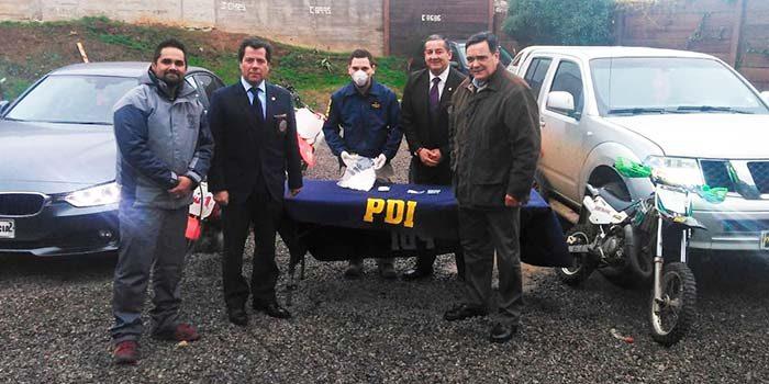 PDI detiene a pareja que utilizaba taller mecánico y lujoso automóvil para comercializar drogas