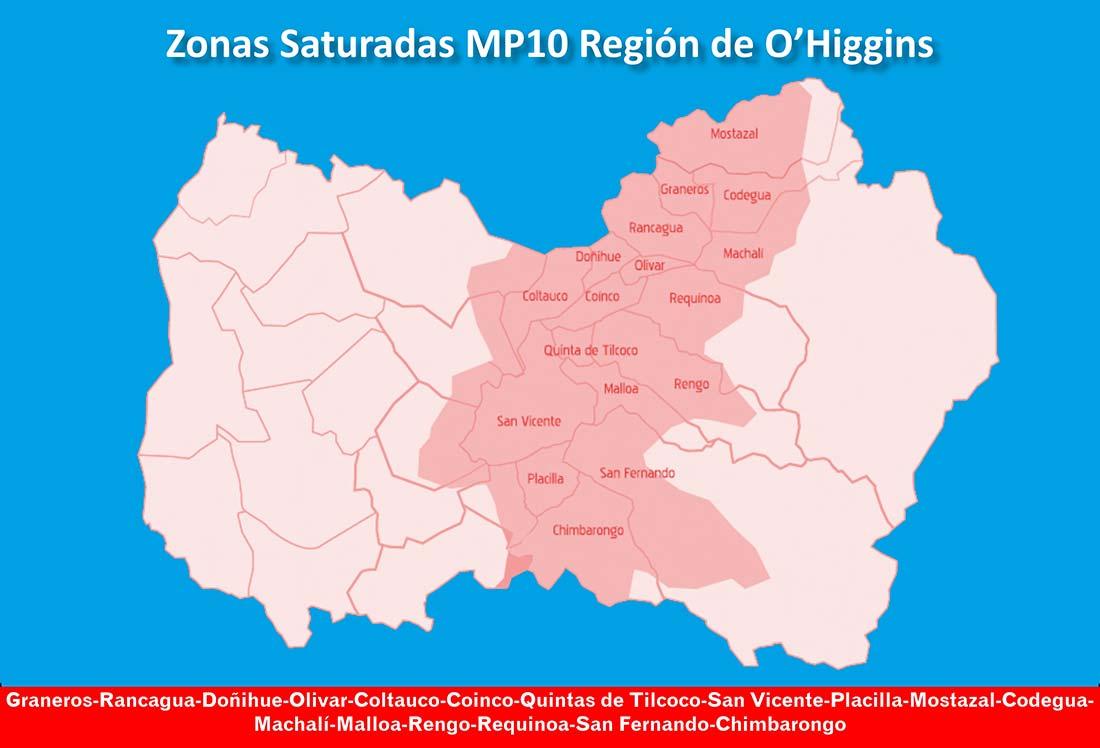 zonas saturadas region de ohiggins