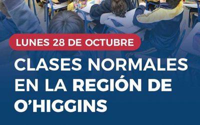 Este lunes 28 de octubre se retoman las clases en la región