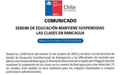 Seremi de educación mantiene suspendidas las clases en Rancagua