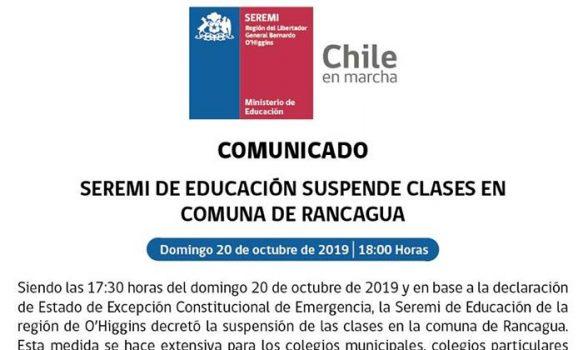 Seremi de Educación suspende las clases en Rancagua