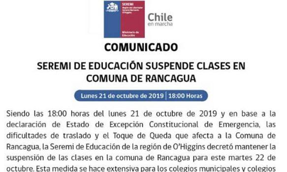 Seremi de Educación suspende las clases este martes en Rancagua