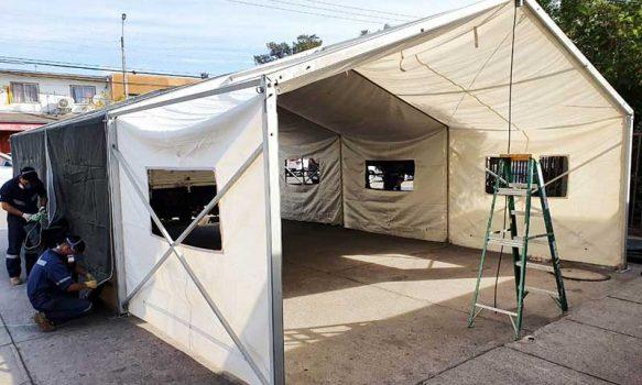 Ejército de Chile instala carpa de apoyo en Hospital San Fernando