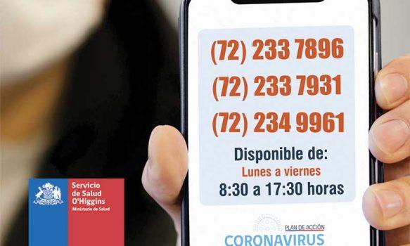 Cerca de mil llamados ha atendido Call Center del Servicio de Salud O'Higgins habilitado para consultas COVID-19