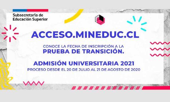 Comienza inscripción para la Prueba de Transición para la admisión universitaria 2021