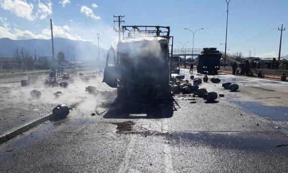 SEC O'Higgins investiga traslado de cilindros de gas tras incendio de camión