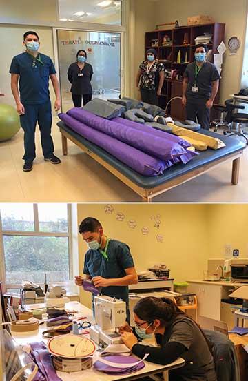 Terapeutas ocupacionales confeccionan cojines de posicionamiento en prono para enfermos con COVID-19