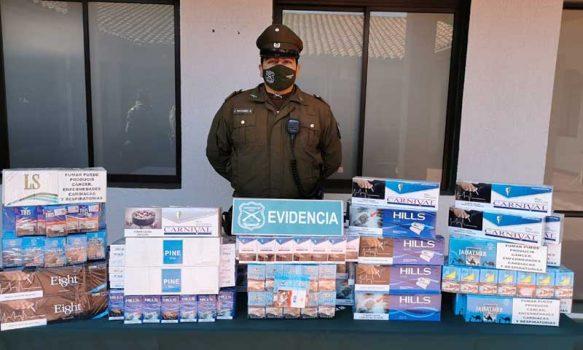Rancagua: Carabineros detuvieron a cuatro personas por contrabando de cigarrillos