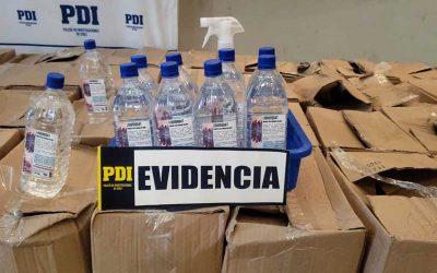 Rancagua: Descubren en una bodega Amonio Cuaternario y alcohol gel para la venta