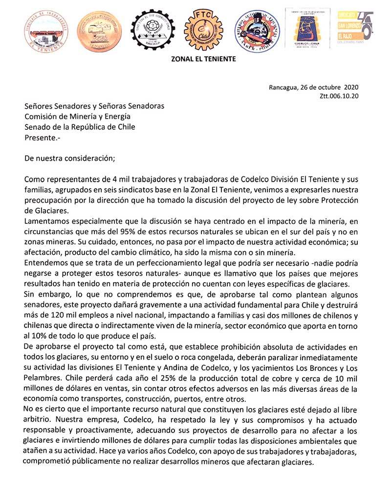 carta-abierta-sindicatos-el-teniente-a-senadores-mocion-ley-de-glaciares