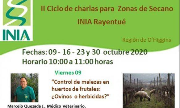 INIA Rayentué realizará II Ciclo de charlas para zonas de Secano