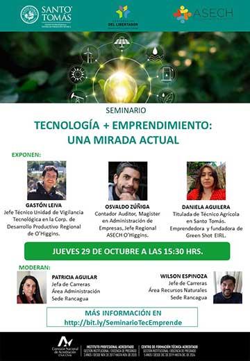 Seminario abordará la tecnología con foco en emprendimientos agrícolas