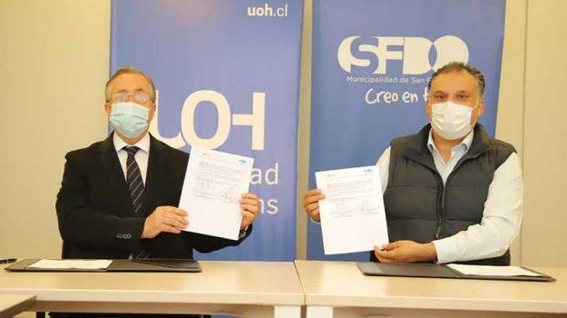 UOH y Municipalidad de San Fernando firman convenio que beneficiará a estudiantes y funcionarios municipales