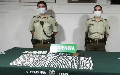 Peumo: Carabineros detuvo dos personas con más de mil papelillos de pasta base