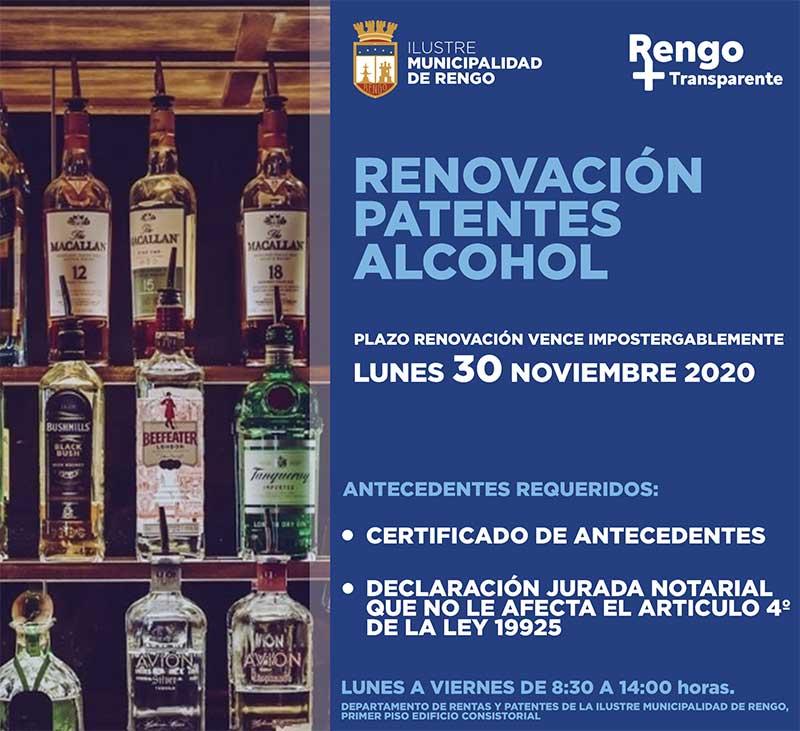 Rengo: Renovación de patentes de alcoholes vence el 30 de noviembre