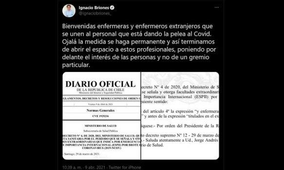 """""""Ignacio Briones agrede a las enfermeras y enfermeros de nuestro país"""""""