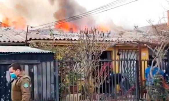 Heroica acción de carabinero salvó a adulto mayor de entre las llamas en San Fernando